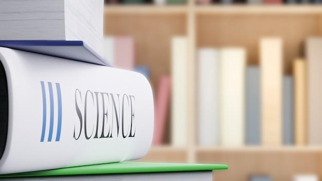 Libro di scienza sulla tavola in libraly, di nuovo alla rappresentazione di concetto 3d della scuola