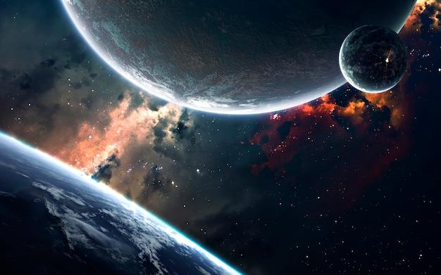 Visualizzazione dello spazio di fantascienza. sistema planetario a migliaia di anni luce dalla terra. elementi di questa immagine forniti dalla nasa