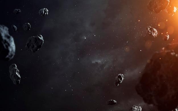 Carta da parati di fantascienza, asteroidi e nebulose. elementi di questa immagine forniti dalla nasa