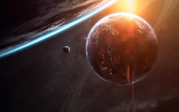 Carta da parati di fantascienza. sistema planetario a migliaia di anni luce dalla terra. elementi di questa immagine forniti dalla nasa