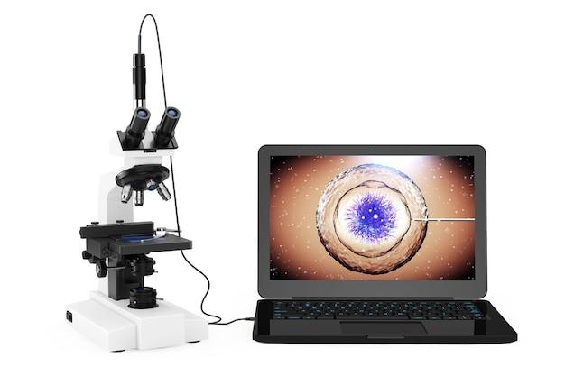 Concetto di tecnologia scientifica. microscopio da laboratorio moderno collegato al computer portatile con batteri e virus sullo schermo su sfondo bianco. rendering 3d.
