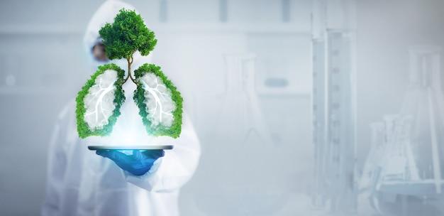 Ricerca scientifica di laboratorio sui benefici medicinali per la guarigione dei polmoni.