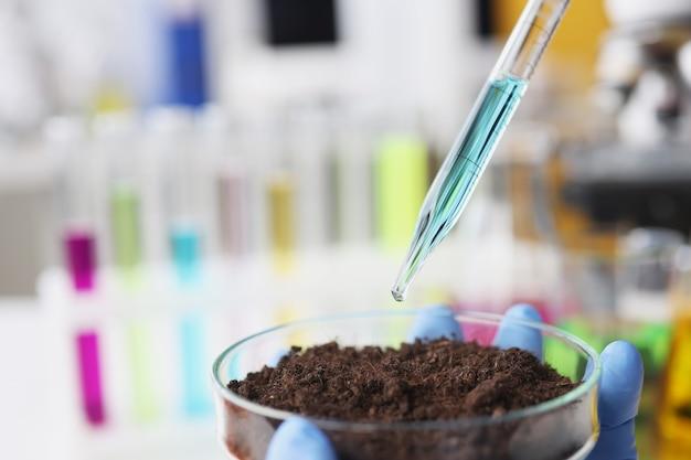 Scienziato gocciola una pipetta con liquido blu in un pallone riempito con il concetto di analisi del suolo terrestre