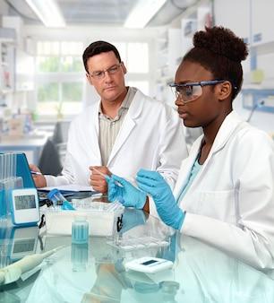 Scienziati, maschi caucasici e femmine africane, lavorano in laboratorio