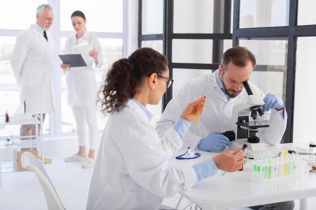 Scienziati che lavorano insieme colpo medio