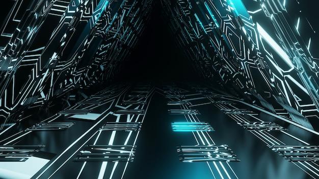 Scifi fantasy tunnel spaziale corridoio e abstract 3d illustrazione dello sfondo.