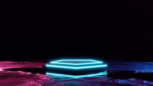 Scifi futuristico podio futuristico blu vetrina vuota incandescente piedistallo prodotto vuoto per prodotto