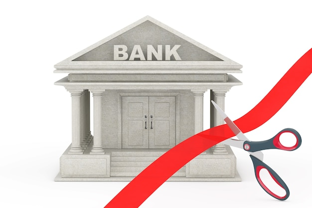 Forbici che tagliano il nastro rosso davanti all'edificio della banca su una priorità bassa bianca. rendering 3d