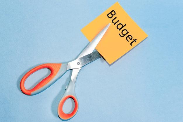 Forbici che tagliano la parola bilancio. concetto di recessione o crisi del credito