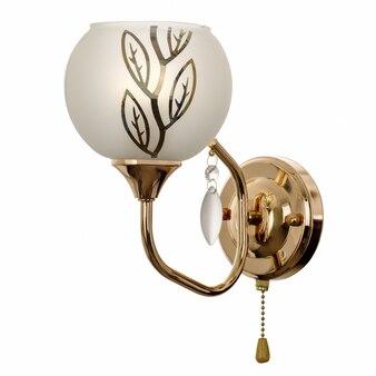 Applique con paralume in vetro smerigliato bianco con ornamenti floreali