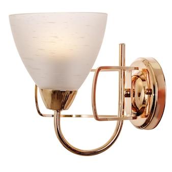 Applique con paralume in vetro smerigliato bianco in metallo dorato lampada da parete moderna