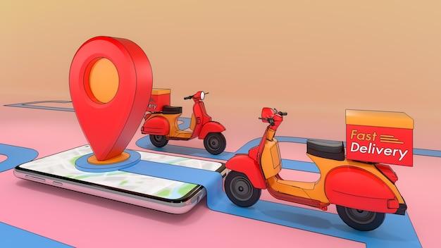 Scooter di espulso da un telefono cellulare, servizio di trasporto ordini di applicazioni mobili online, concetto di servizio di consegna veloce e acquisti online