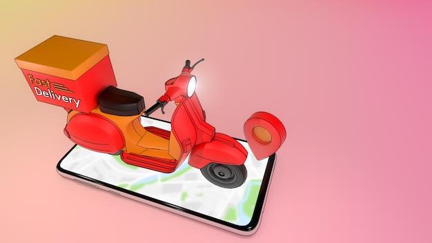 Scooter sul telefono cellulare con punto rosso., concetto di servizio di consegna veloce e acquisto in linea., illustrazione 3d con tracciato di ritaglio oggetto.