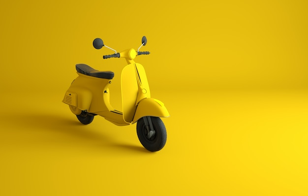 Scooter su giallo. rendering 3d
