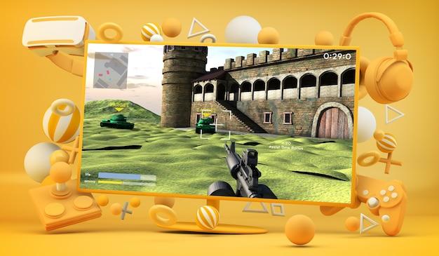 Schermo con rendering 3d di videogiochi e accessori