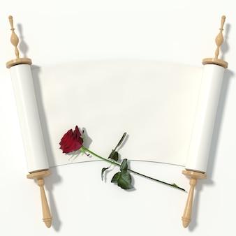 Scorrere fino al libro bianco su rulli di legno e una rosa rossa, isolato su sfondo bianco