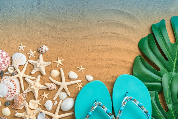 Sfondo del mare con infradito, foglia tropicale e stelle marine e conchiglie sulla spiaggia di sabbia.