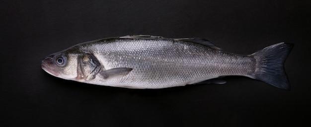 Pesce branzino su sfondo nero, immagine panoramica