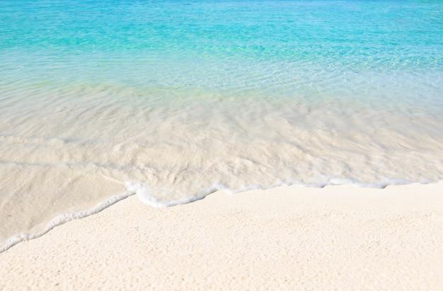 Il mare e la spiaggia dalle acque limpide trascorrono un'estate di vacanza all'insegna del relax e viaggiano in cielo luminoso