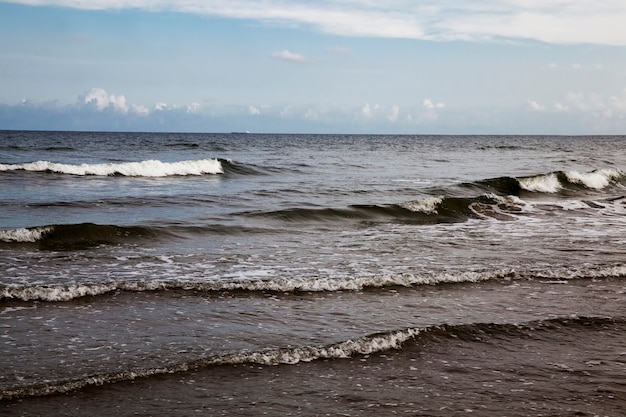 La costa del mare del freddo mar baltico