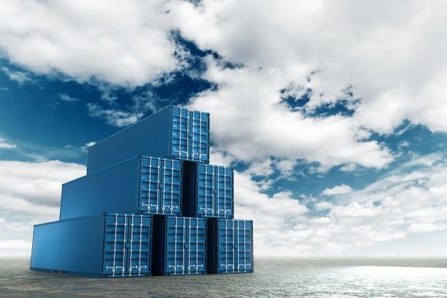 Contenitori del mare contro il cielo blu, porto industriale con i contenitori. concetto di logistica, consegna veloce. tecnica mista, copia spazio.