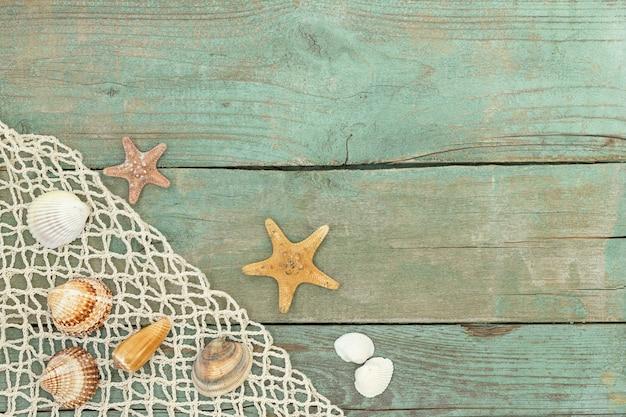 Vecchia superficie di legno del mare con reticolato di mare, conchiglie e stelle marine