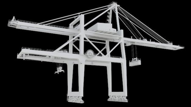 Gru del porto marittimo su sfondo nero. rendering 3d.