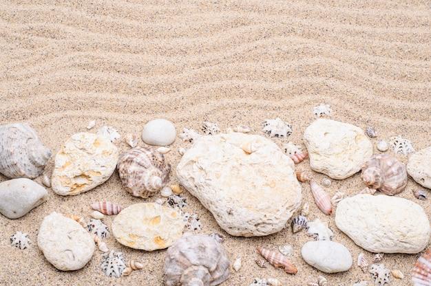 Sabbia di mare con pietre e conchiglie concetto di estate