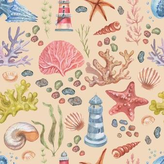 Mare ãâ€â‹ã¢â€â‹ viaggio faro coralli conchiglie spiaggia illustrazione dell'acquerello disegnato a mano stampa tessile vintage retrò. patern seamless set cartoon ocean