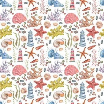 Viaggio per mare faro meduse stelle marine coralli conchiglie modello senza cuciture spiaggia acquerello