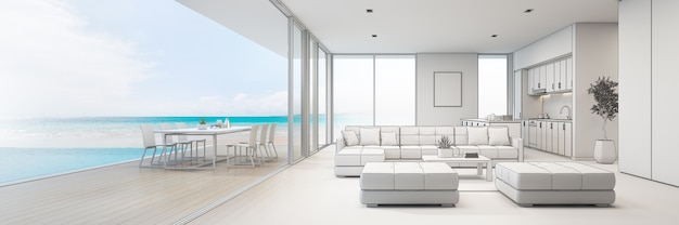 Cucina vista mare, sala da pranzo e soggiorno di casa al mare di lusso