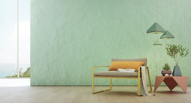 Salone di vista del mare della casa di spiaggia di lusso di estate con la finestra di vetro e il pavimento di legno.