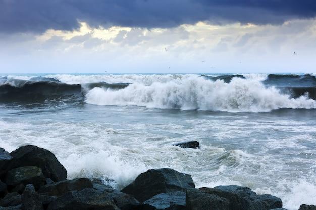 Onda del mare durante la tempesta in una giornata ventosa