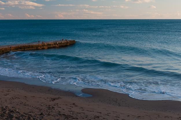 Onde del mare che colpiscono la riva sabbiosa