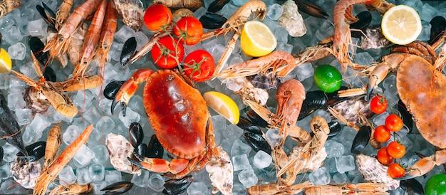 Frutti di mare sul ghiaccio. granchi, storioni, crostacei, gamberi, rapana, dorado, su ghiaccio bianco.