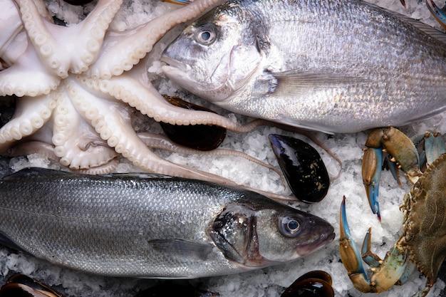 Frutti di mare su ghiaccio al mercato del pesce. dorado, granchio blu, seppie, cozze e branzino su ghiaccio