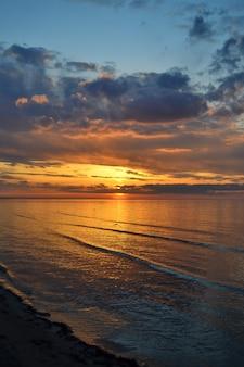 Il gabbiano vola basso sopra l'acqua sullo scenario estivo serale del mare