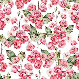 Modello seamles con sakura giapponese con fiori rosa e foglie verdi