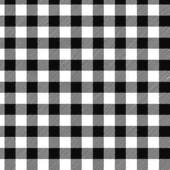 Sfondo astratto plaid di base in bianco e nero senza soluzione di continuità