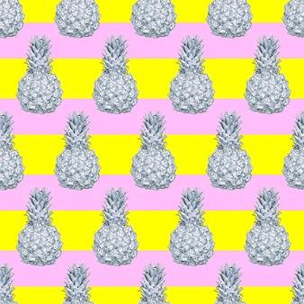 Modello di ananas alla moda senza cuciture ideale per biglietti di auguri in carta da regalo per poster di tshirt in tessuto pri