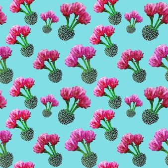 Fondo tropicale del modello di estate floreale senza cuciture con cactus in fiore, piante grasse su sfondo turchese.