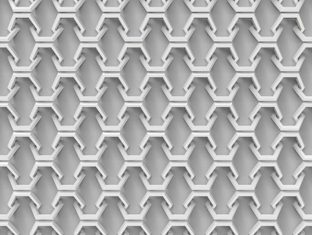 Modello collegato esagonale mezzo senza cuciture su fondo grigio.