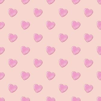 Motivo ad anello senza cuciture con biscotti a forma di cuore decorati da smalto bianco su sfondo rosa