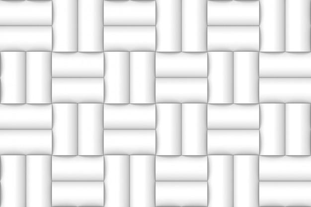 Fondo bianco moderno senza cuciture ordinato della parete del modello del cilindro.