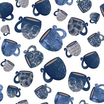 Modello senza cuciture di tazze e tazze blu per accessori da cucina e asciugamani