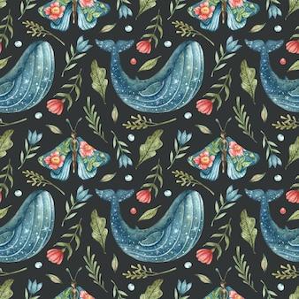Modello senza cuciture una balena blu con stelle e una farfalla blu-ragazze con fiori sulle ali disegnate a mano