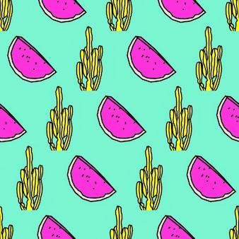Modello senza soluzione di continuità. sfondo di cactus e anguria. utilizzare per t-shirt, biglietti di auguri, carta da regalo, poster, stampa su tessuto. moda hipster sketch art