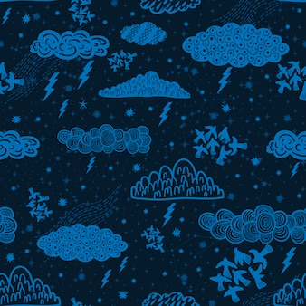 Modello senza cuciture nuvola astratto simbolo spazioastrologia sfondo doodle style