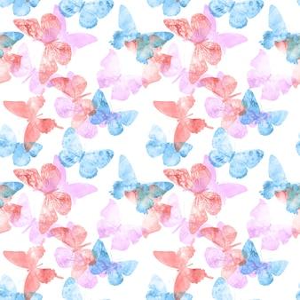 Modello senza soluzione di continuità. colorate farfalle tropicali isolate su uno sfondo bianco. foto di alta qualità