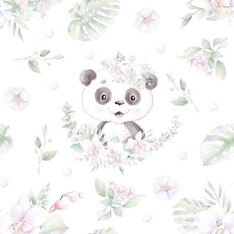 Modello senza soluzione di continuità. panda simpatico cartone animato con fiori e palloncini.